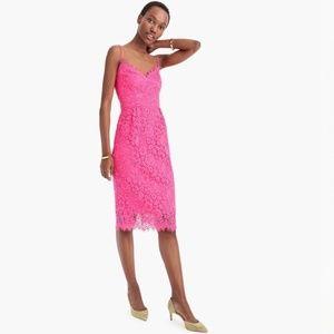 J. Crew Guipure Lace Spaghetti Strap Pink Dress 2